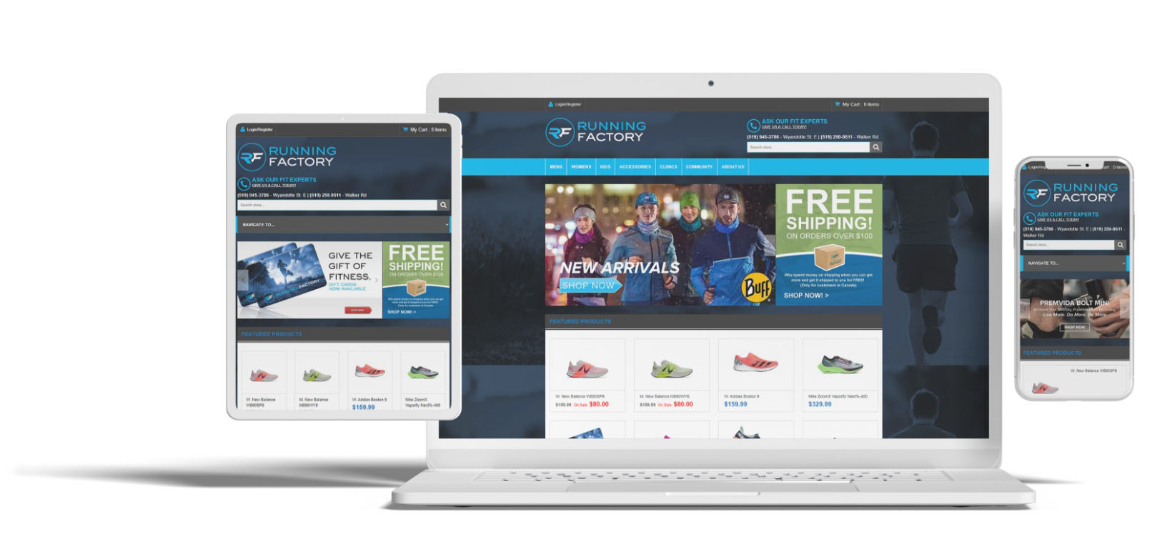 a website called Running Factory showing show it looks on tablet, laptop and phone