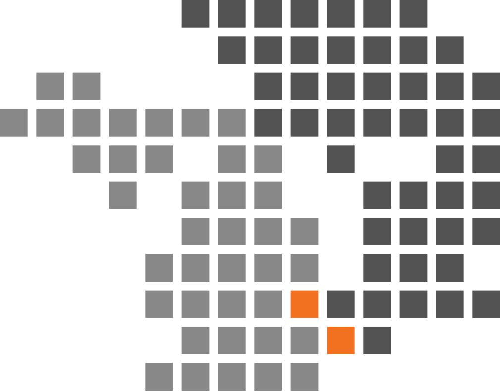 A design-only element consisting of square blocks. Half of the blocks are darker than the other half to illustrate the two countries, Canada and USA. Where the blocks intersect with each other they are orange, representing NYN offices in both countries.