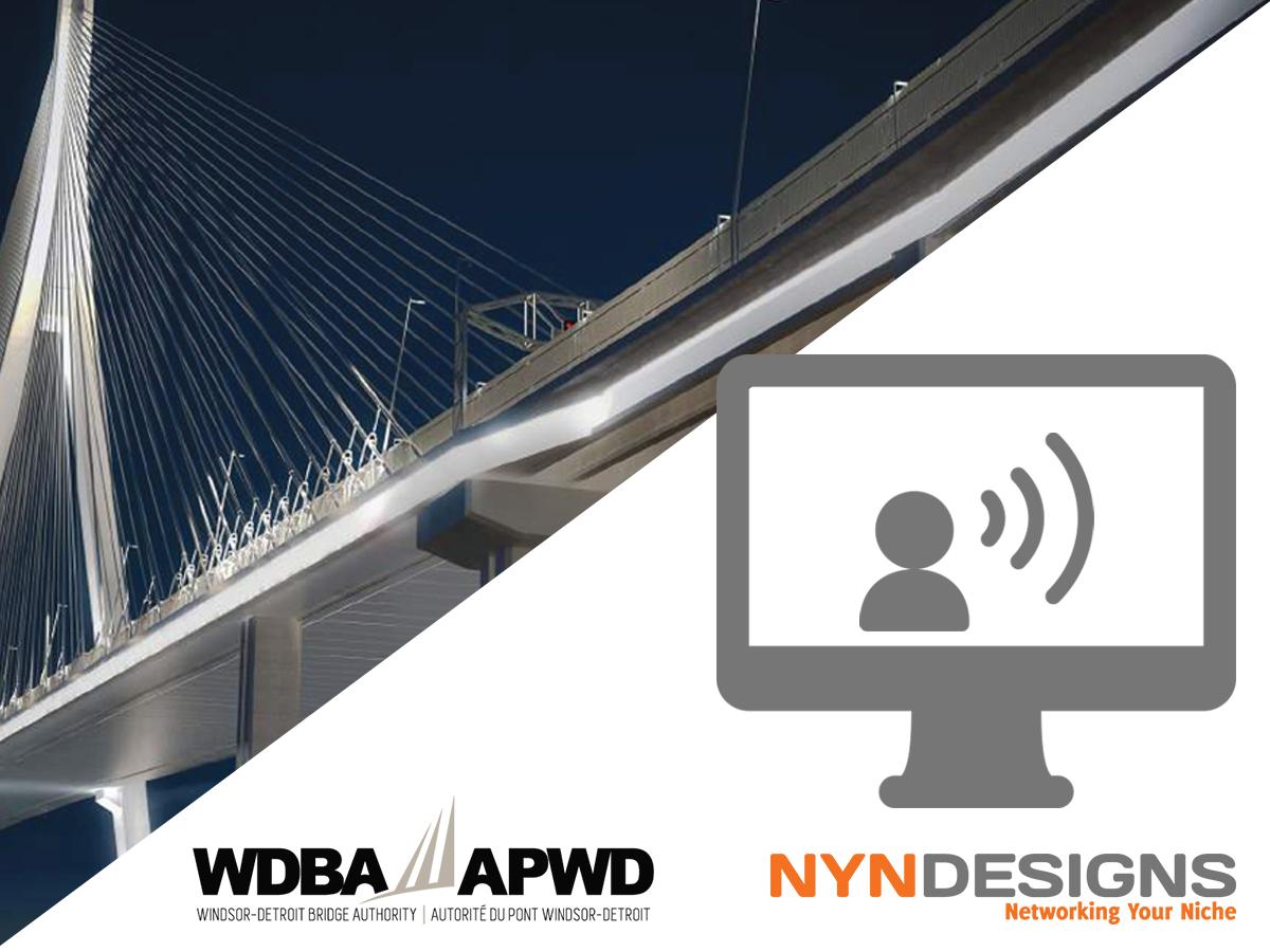 WDBA and NYN logos with a rendering of the Gordie Howe International Bridge