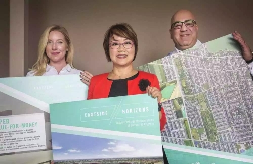 Representatives of LC Platinum Realty holding plans for Eastside Horizons