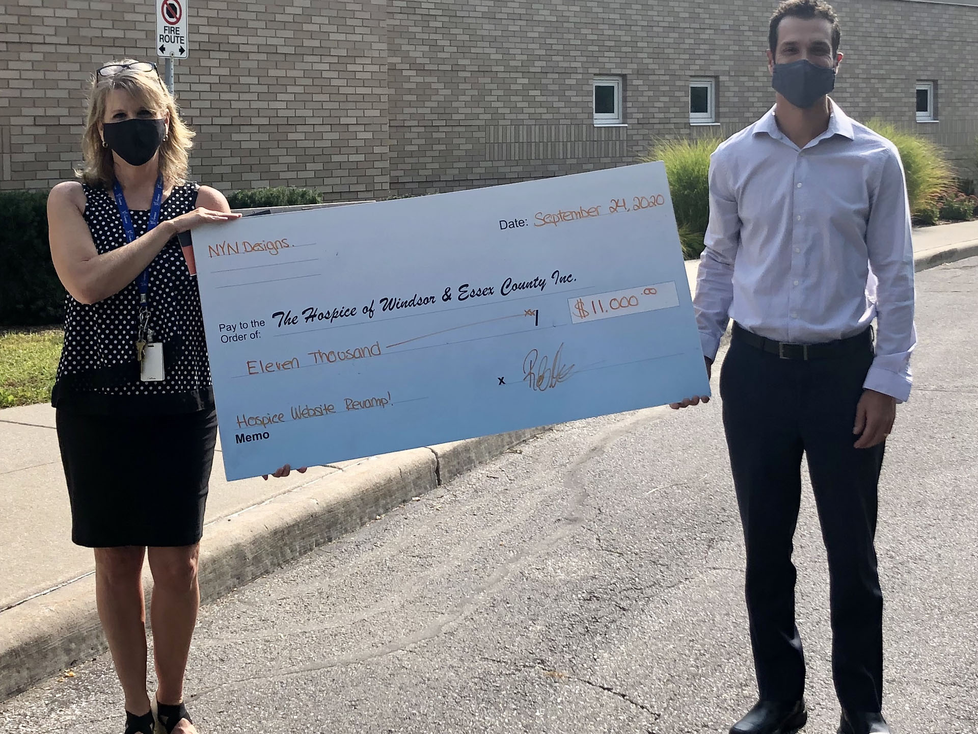Robert Novena of NYN presenting a donation cheque for $11,000 to The Hospice of Windsor and Essex County